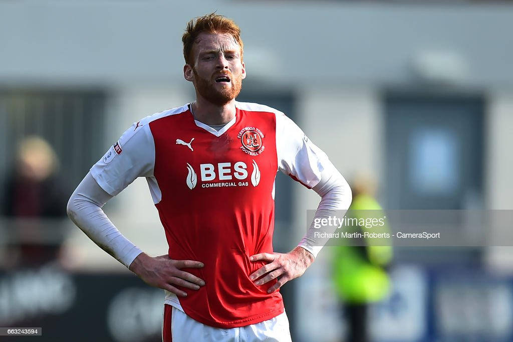 Fleetwood Town's Cian Bolger reacts during the Sky Bet League One match between Fleetwood Town and Swindon Town at Highbury Stadium on April 1, 2017 in Fleetwood, England.