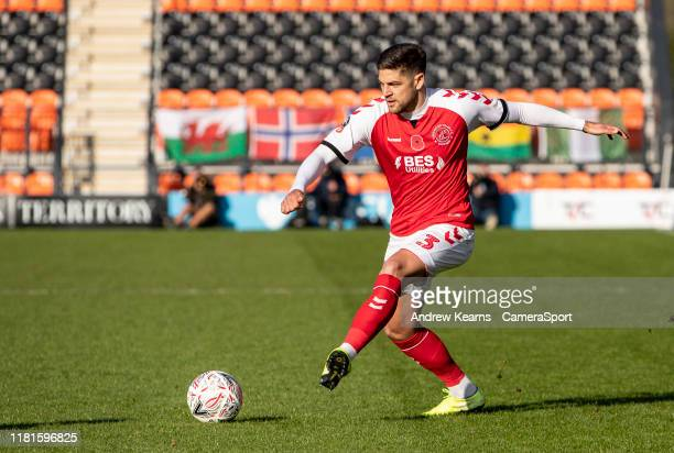 Fleetwood Town's Danny Andrew crosses during the FA Cup First Round match between Barnet and Fleetwood Town at The Hive on November 10 2019 in Barnet...