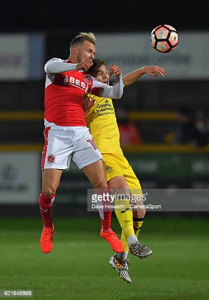 Fleetwood Town's David Ball out jumps Southport's Declan Weeks during the The Emirates FA Cup First Round match between Southport and Fleetwood Town...