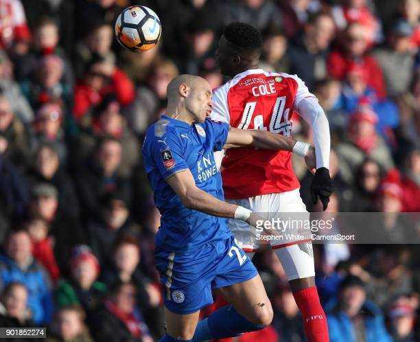 FLEETWOOD ENGLAND JANUARY Fleetwood Town's Devante Cole and Leicester City's Yohan Benalouane during the Emirates FA Cup Third Round match between...