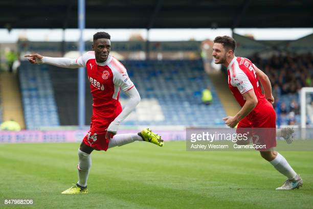 Fleetwood Town's Devante Cole celebrates scoring his side's equalising goal to make the score 11 during the Sky Bet League One match between...