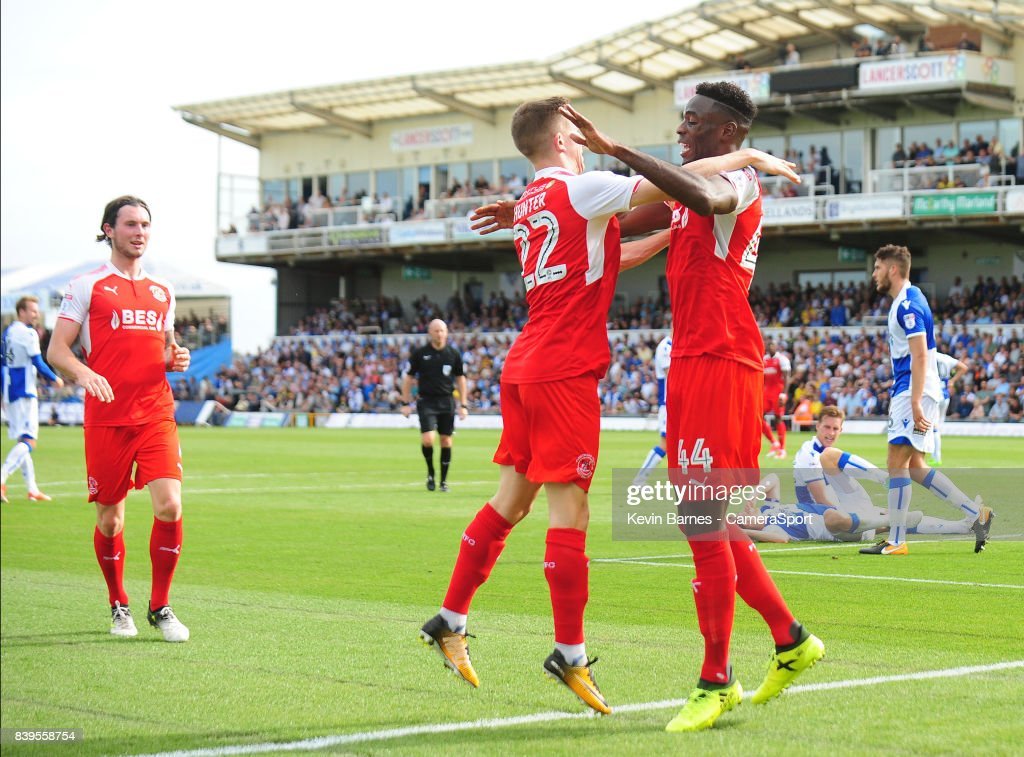 Fleetwood Town's Devante Cole celebrates scoring his sides first goal with team-mate Ashley Hunter during the Sky Bet League One match between Bristol Rovers and Fleetwood Town at Memorial Stadium on August 26, 2017 in Bristol, England.