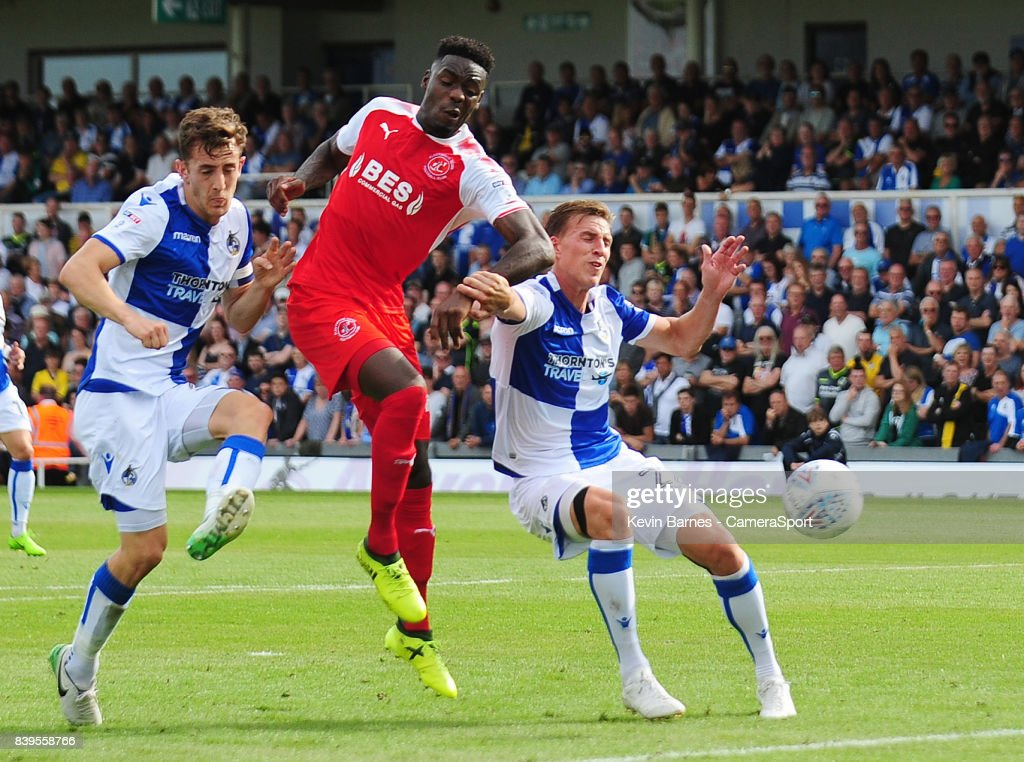 Fleetwood Town's Devante Cole scores his sides first goal during the Sky Bet League One match between Bristol Rovers and Fleetwood Town at Memorial Stadium on August 26, 2017 in Bristol, England.