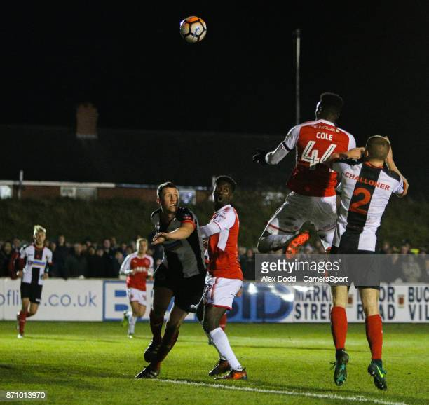 Fleetwood Town's Devante Cole scores his side's first goal during the FA Cup First Round match between Chorley v Fleetwood at Victory Park on...