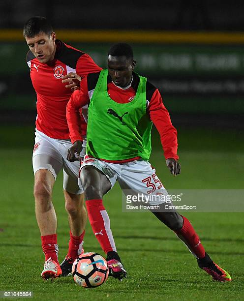 Fleetwood Town's Elohor Godswill Ekpolo warms up during the The Emirates FA Cup First Round match between Southport and Fleetwood Town at the...