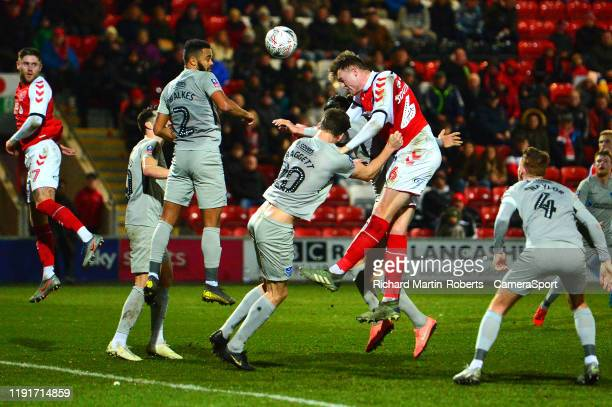 FLEETWOOD ENGLAND JANUARY Fleetwood Town's Harry Souttar heads at goal during the FA Cup Third Round match between Fleetwood Town and Portsmouth at...