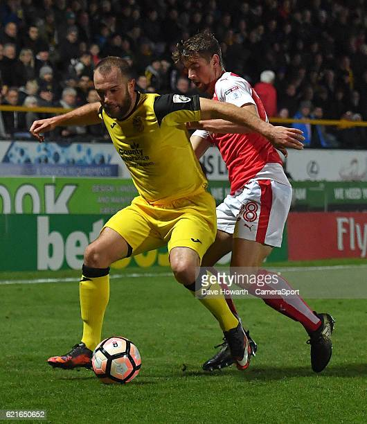 Fleetwood Town's Jack Sowerby battles with Southport's Neil Ashton during the The Emirates FA Cup First Round match between Southport and Fleetwood...