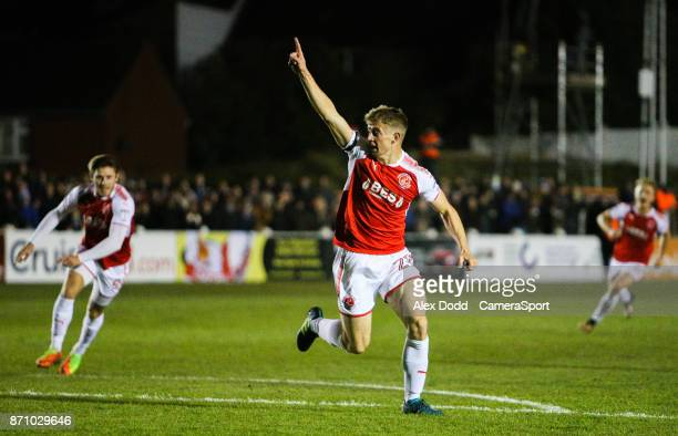 Fleetwood Town's Jack Sowerby celebrates scoring his side's second goal during the FA Cup First Round match between Chorley v Fleetwood at Victory...