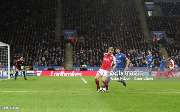 Fleetwood Town's Kyle Dempsey and Leicester Citys Dragovic during The Emirates FA Cup Third Round Replay match between Leicester City and Fleetwood...