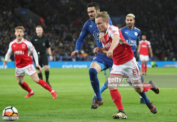 Fleetwood Town's Kyle Dempsey and Leicester City's Vicente Iborra during The Emirates FA Cup Third Round Replay match between Leicester City and...