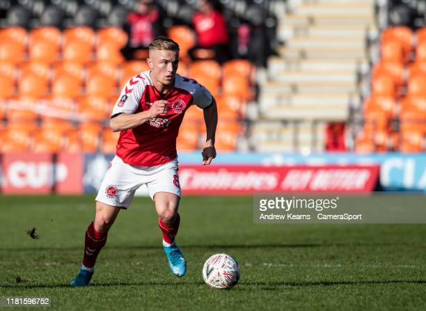 Fleetwood Town's Kyle Dempsey breaks during the FA Cup First Round match between Barnet and Fleetwood Town at The Hive on November 10 2019 in Barnet...