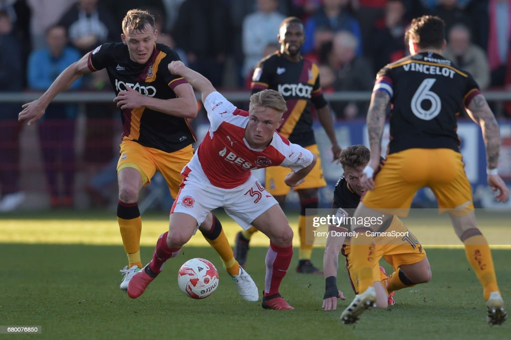 Fleetwood Town's Kyle Dempsey under pressure during the Sky Bet League One Play-Off Semi-Final Second Leg match between Fleetwood Town and Bradford City at Highbury Stadium on May 7, 2017 in Fleetwood, England.