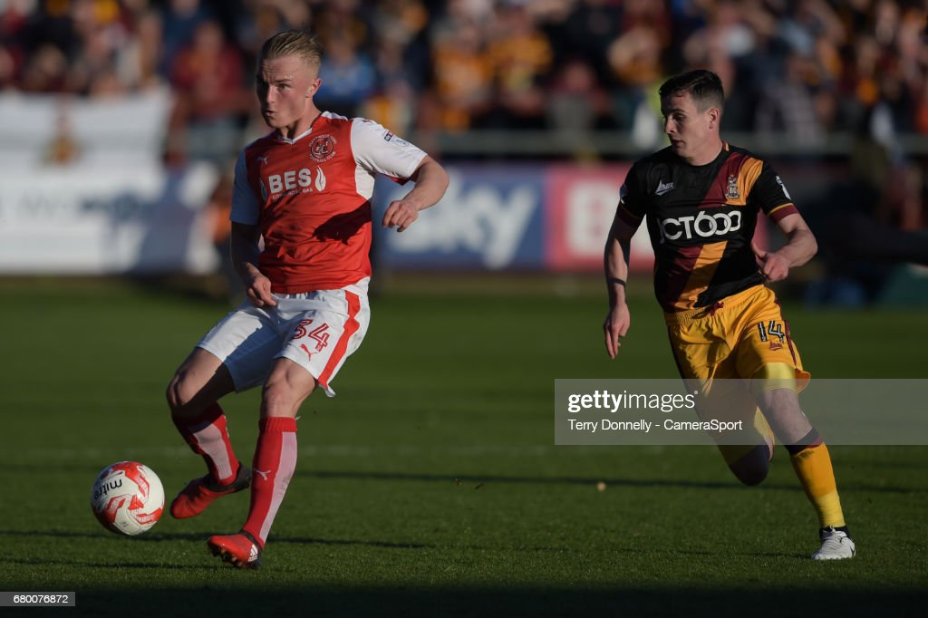 Fleetwood Town's Kyle Dempsey under pressure from Bradford City's Josh Cullen during the Sky Bet League One Play-Off Semi-Final Second Leg match between Fleetwood Town and Bradford City at Highbury Stadium on May 7, 2017 in Fleetwood, England.