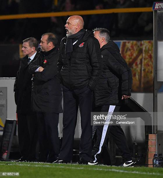 Fleetwood Town's Manager Uwe Rosler shouts instructions to his team during the The Emirates FA Cup First Round match between Southport and Fleetwood...