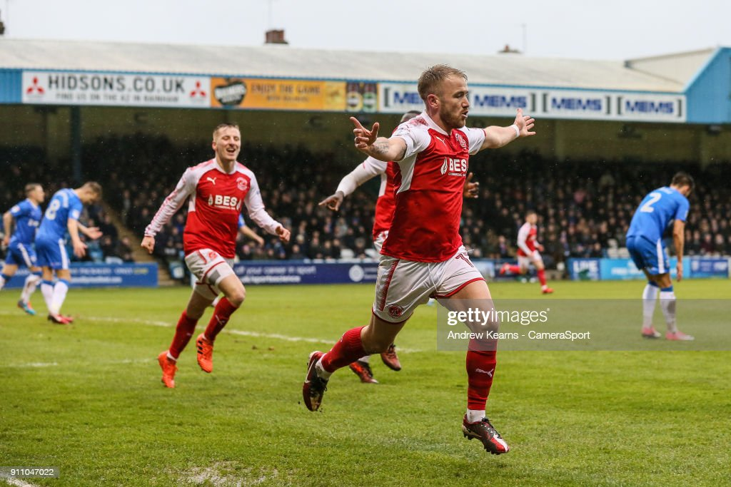 Fleetwood Town's Paddy Madden celebrates scoring their first goal during the Sky Bet League One match between Gillingham and Fleetwood Town at Priestfield Stadium on January 27, 2018 in Gillingham, .