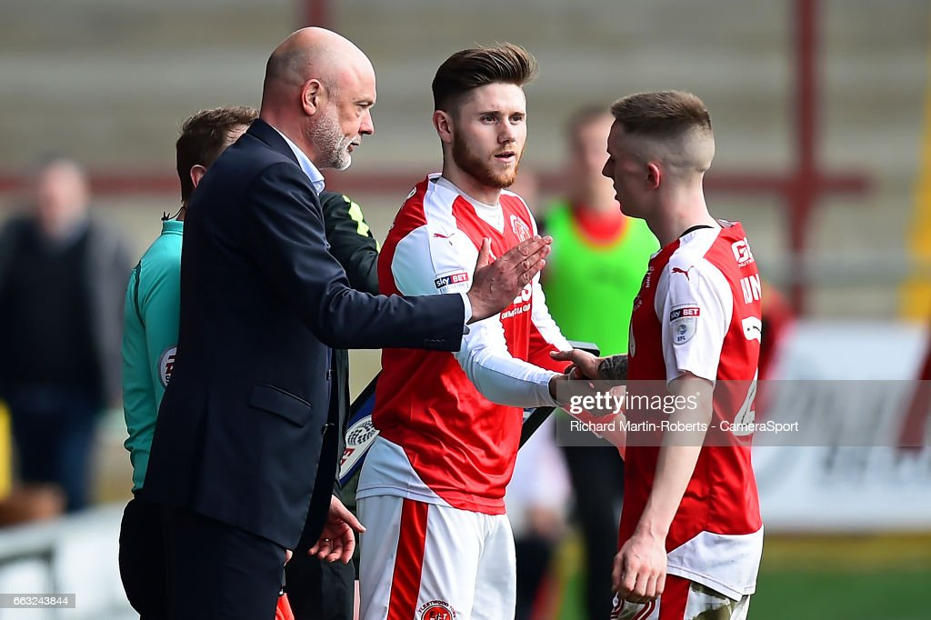 Fleetwood Town's Wes Burns comes on as a sub for Ashley Hunter during the Sky Bet League One match between Fleetwood Town and Swindon Town at Highbury Stadium on April 1, 2017 in Fleetwood, England.