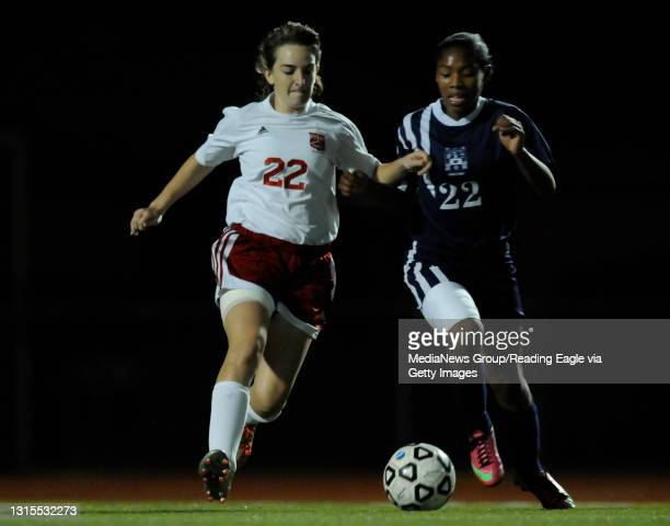 Fleetwood's and Conrad Weiser's TaCari Talford chase after a loose ball.GIRLS SOCCER Conrad Weiser Scouts defeat the Fleetwood Tigers 3-0 in a BCIAA...