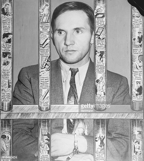 The accusedAnd The State's Case Against Him Bruno Richard Hauptmann defendant is seen here behind bars of his cell on which artist has depicted the...