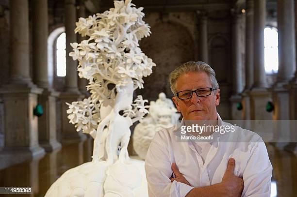 Flemish artist Jan Fabre poses inside Nuova Scuola Grande di S Maria della Misericordia ahead of the press opening of his exhibition Pietas on May 31...