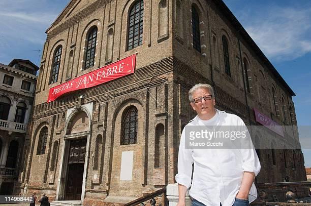 Flemish artist Jan Fabre stands in front of Nuova Scuola Grande di S Maria della Misericordia ahead of the press opening of his exhibition Pietas on...