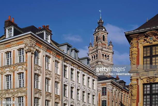 Flemish buildings in the Grand Place (Place du General de Gaulle), with the Nouvelle Bourse (new mint) tower in centre, Lille, Nord, France, Europe