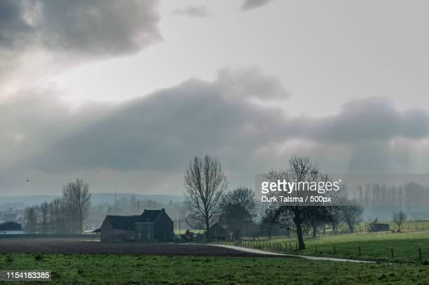 flemish landscape in winter - flandres oriental imagens e fotografias de stock