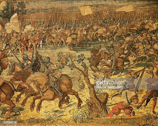 Flemish tapestry based on cartoons by Bernaert van Orley representing Charles V Imperial troops advance at the battle of Pavia Flanders 16th century