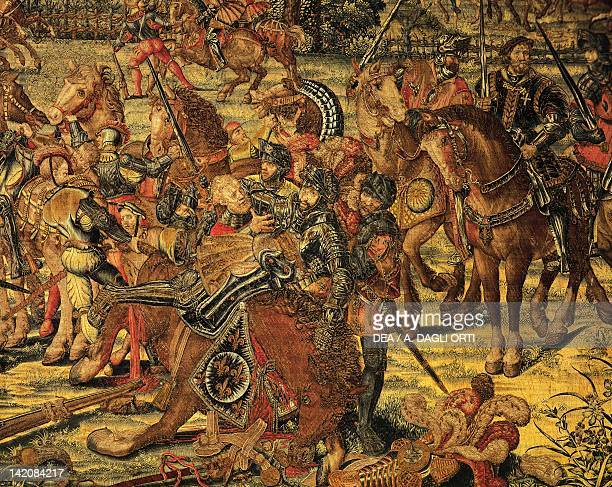 Flemish tapestry based on cartoons by Bernaert van Orley representing the capture of Francis I at the battle of Pavia Flanders 16th century
