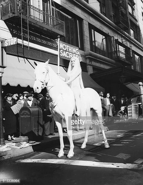 A flesh colored bathing suit preserved the modesty of Dorothy Fargo as she portrayed the Lady Godiva in Los Angeles in 1937 It was the 900th...
