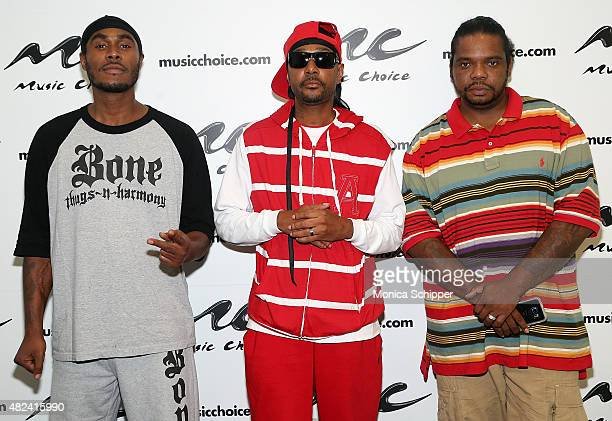 FleshNBone Krayzie Bone and Wish Bone of Bone ThugsNHarmony visit Music Choice on July 30 2015 in New York City