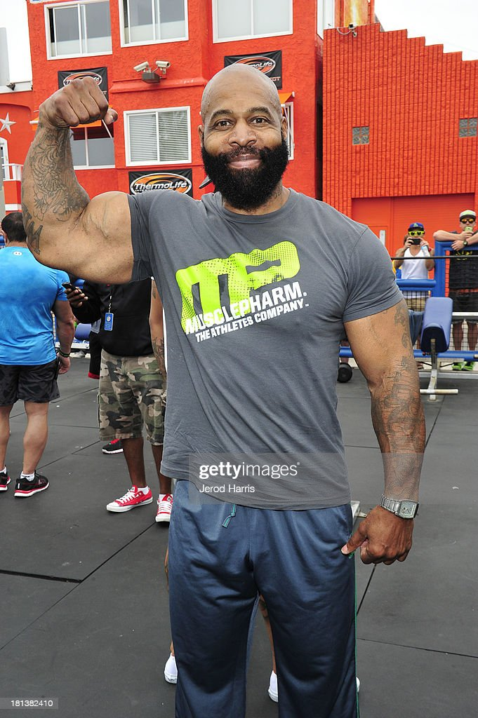 CT Fletcher attends a special body building experience hosted by Arnold Schwarzenegger at the famed Muscle Beach Venice to celebrate the launch of the Arnold Series, an exclusive line of new nutritional supplements developed by Schwarzenegger and MusclePharm on September 20, 2013 in Venice, California.