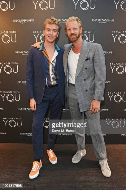 Fletcher Cowan and Alistair Guy attend the Emporio Armani Fragrance 'Stronger With You' party at Roast on July 18 2018 in London England