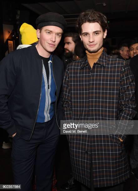 Fletcher Cowan and Jack Brett Anderson attend the LFWM Official Party Pub LockIn during London Fashion Week Men's January 2018 at The George on...