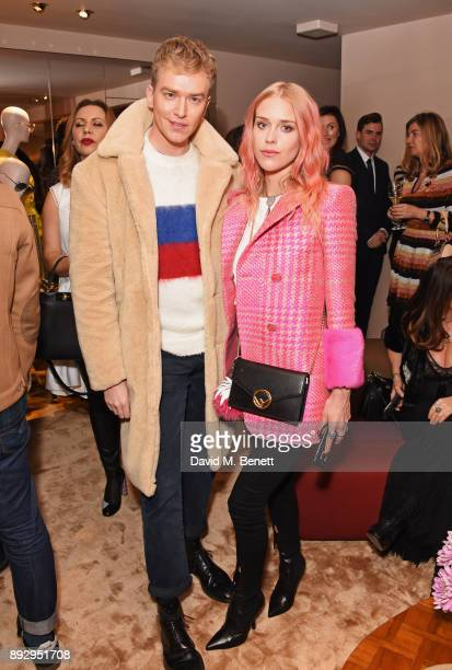 Fletcher Cowan and Mary Charteris attend the FENDI Sloane Street boutique opening on December 14 2017 in London England