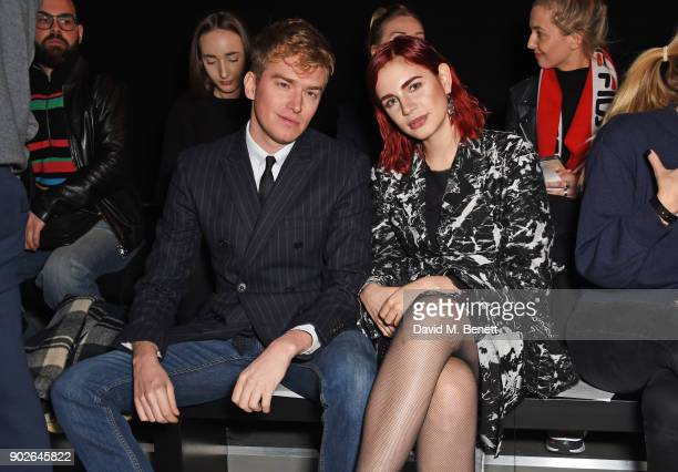 Fletcher Cowan and Nikita Andrianova attend the Bobby Abley show during London Fashion Week Men's January 2018 at BFC Show Space on January 8 2018 in...