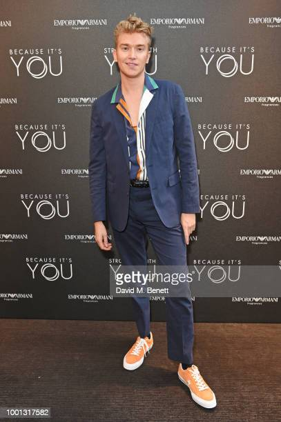 Fletcher Cowan attends the Emporio Armani Fragrance 'Stronger With You' party at Roast on July 18 2018 in London England
