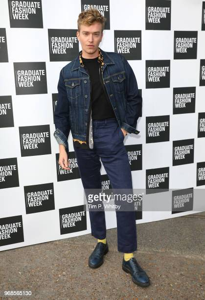 Fletcher Cowan attends the Graduate Fashion Week Gala at The Truman Brewery on June 6 2018 in London England