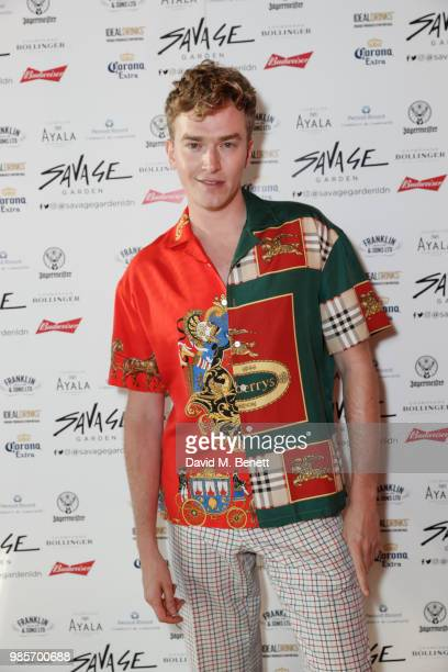 Fletcher Cowan attends the opening of new rooftop bar Savage Garden on June 27 2018 in London England