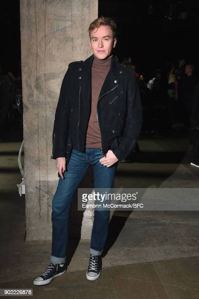 Fletcher Cowan on the front row at the MAN show during London Fashion Week Men's January 2018 at Old Selfridges Hotel on January 7 2018 in London...