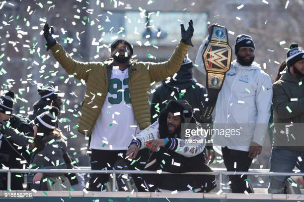 Fletcher Cox Brandon Graham and Vinny Curry celebrate during the Super Bowl LII parade on February 8 2018 in Philadelphia Pennsylvania