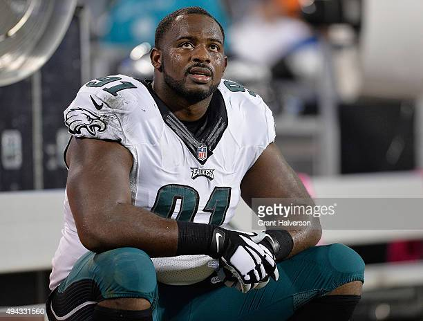Fletcher Cox of the Philadelphia Eagles against the Carolina Panthers during their game at Bank of America Stadium on October 25 2015 in Charlotte...