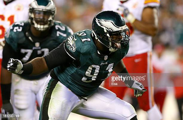 Fletcher Cox of the Philadelphia Eagles celebrates a sack in the second quarter at Lincoln Financial Field on September 19 2013 in Philadelphia...