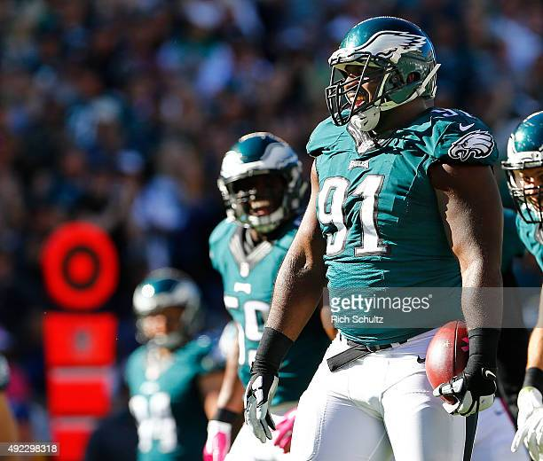 Fletcher Cox of the Philadelphia Eagles celebrates after recovering a fumble on his sack on Drew Brees of the New Orleans Saints in the third quarter...