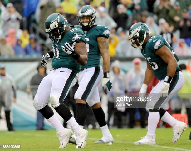 Fletcher Cox of the Philadelphia Eagles celebrates after sacking CJ Beathard of the San Francisco 49ers in the second quarter during their game at...