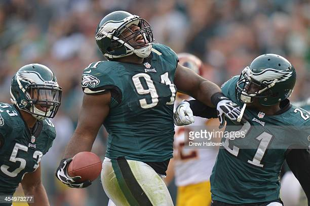 Fletcher Cox of the Philadelphia Eagles celebrates against the Washington Redskins at Lincoln Financial Field on November 17 2013 in Philadelphia...