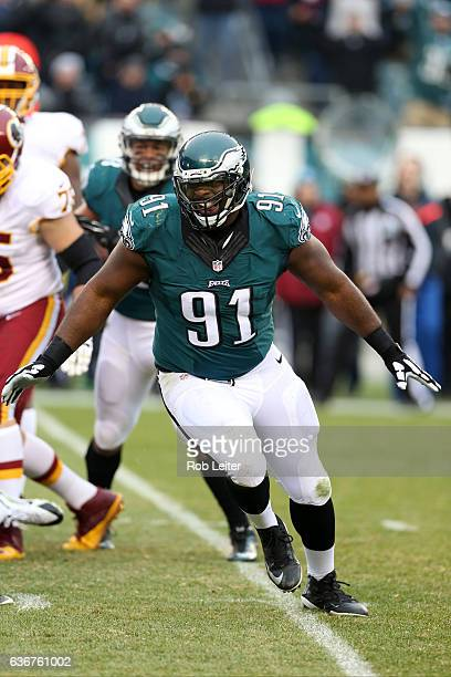 Fletcher Cox of the Philadelphia Eagles celebrates during the game against the Washington Redskins at Lincoln Financial Field on December 11 2016 in...