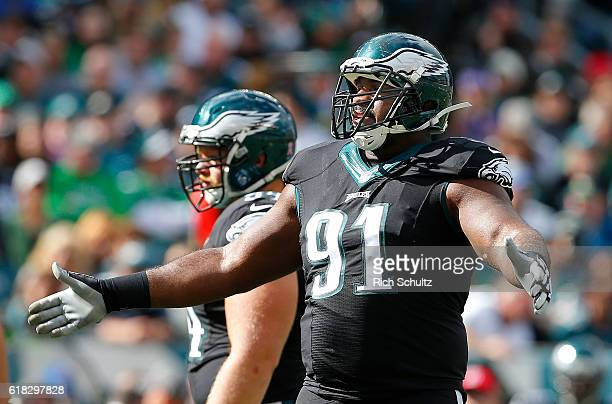 Fletcher Cox of the Philadelphia Eagles in action during the first quarter against the Minnesota Vikings during a game at Lincoln Financial Field on...