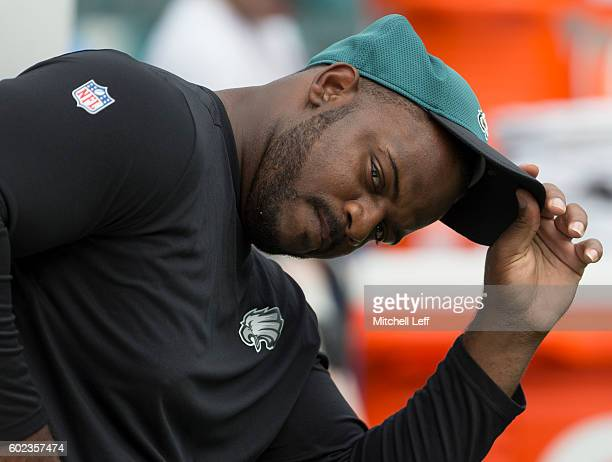 Fletcher Cox of the Philadelphia Eagles looks on prior to the game against the Cleveland Browns at Lincoln Financial Field on September 11 2016 in...