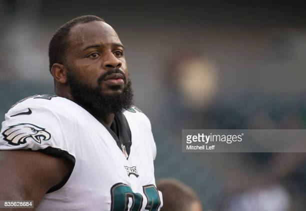 Fletcher Cox of the Philadelphia Eagles looks on prior to the preseason game against the Buffalo Bills at Lincoln Financial Field on August 17 2017...