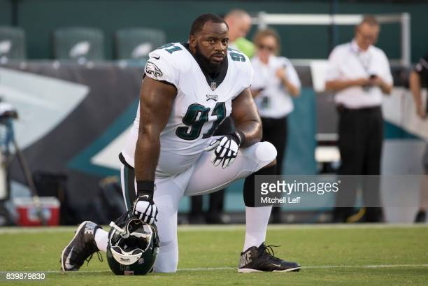 Fletcher Cox of the Philadelphia Eagles looks on prior to the preseason game against the Miami Dolphins at Lincoln Financial Field on August 24 2017...
